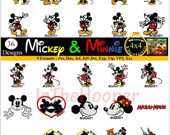 Disney MICKEY MINNIE EMBROIDERY Designs Pes, Hus, Jef, Dst, Exp, Jef+, Vip, Vp3, Xxx