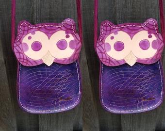 Purple leather owl bag