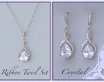 Crystal Bridal SET, Crystal Necklace & Earrings Set, Bridesmaids Jewelry Set, Wedding Jewelry Set, RIBBON