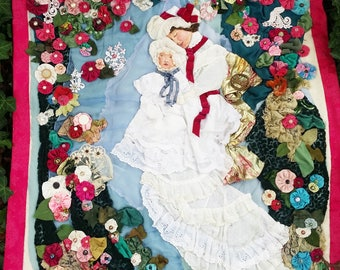 Victorian Art Quilt Collage Textile Fabric Wall Hanging Made With Vintage Fabrics, Trims, Lace, and Beads and Hand Painted