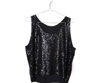 Vintage Evening Black Sequin Top . Women's Retro Disco Party Blouse Sleeveless Tops . Sequin top .  Small