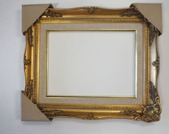 12 x 16 Gold-Leaf-Wood-amp-Linen-Liner-Well-Made-in-USA-Picture-Frame-New