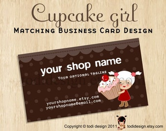 Business Card design to match Cupcake girl Premade shop set.. double sided