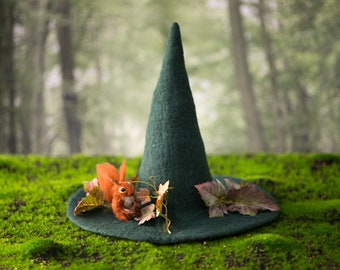 Witch hat with Squirrel forest wizard hat felted hat from wool Halloween costume witch costume larp hat cosplay