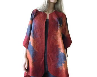 Paprika Delish Nuno Felt and silk Poncho ,Reversible ruana ,wrap- Amazing opera top in my beloved Kimono style-Only one available
