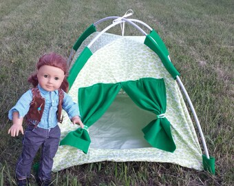 American Girl Doll Tent in Green Camoflauge