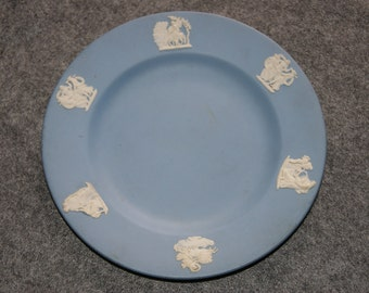 Vintage 1958 Blue And White Wedgewood Jasperware Saucer Or Dessert Plate