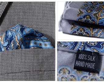 Silk Pocket Square / Pocket Handkerchief / Paisley Handkerchief / Mens Handkerchiefs Men Hanky / Silk Handkerchief