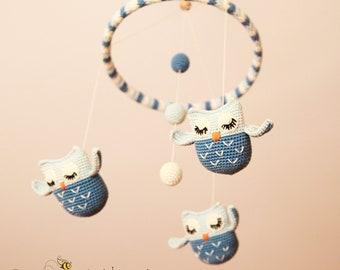Download PDF crochet pattern - Sleepy Owls Mobile