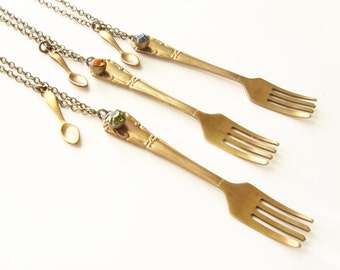 End Hunger Cause Necklace- Realistic fork miniature spoon charm necklace