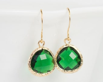 May Birthstone Emerald Quartz and Gold Framed Dangle Earrings, Emerald Gold Dangle Earrings, Gold Earrings [#807]