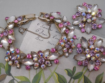 Best JULIANA Pink and Lavender Rhinestone Bracelet and Earrings Set    MAE2