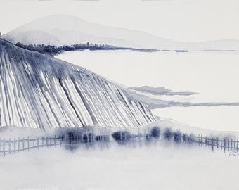 ORIGINAL Watercolor Painting,Scandinavian Design,Minimal Landscape,Wall Art,Minimalist Art,Gray Art,Monochromatic,Mountain Painting,Lake Art