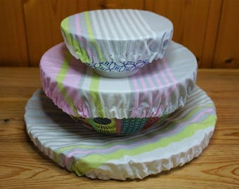Charlotte striped grey/pink round in 4 sizes and 3 colors, cotton coated zero waste
