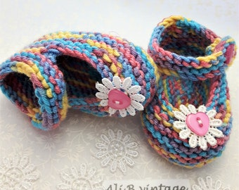Rainbow Baby shoes Baby knitted shoes  baby girl shoes Mary Jane style  Babies Knitted Shoe baby gift lace white flower baby shower