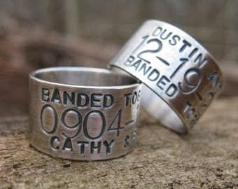 XLARGE Personalized Sterling Silver Goose Band Ring . Duck Band Ring . for fowl hunters . stamped names, dates or lat/long . sz 13.25-16