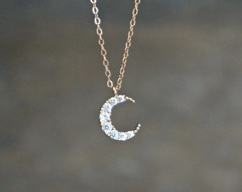 Crescent Moon Necklace // CZ Encrusted Moon Pendant on a 14k Gold Filled  Chain • Dainty Celestial Jewelry • I love you to the Moon and Back