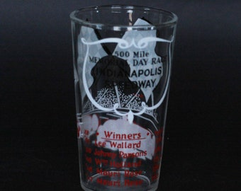 vintage indianapolis speedway memorial day race glass 8oz.