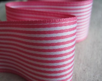 PINK and WHITE Stripes wide Ribbon