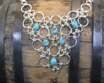 Hubei Turquoise Necklace - Sterling Silver Chainmaille -  Lace Bib Necklace - Anniversary Gift, Birthday Gift, Mother's Day