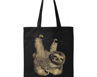 Sloth Tote Bag, 10% Donated to Animal Causes, Reusable Grocery Bag, Shopping Bag, Sloth Gift