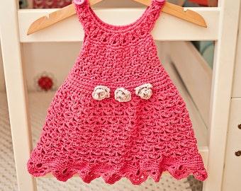 Crochet dress PATTERN - Flower Sundress (sizes up to 8 years)