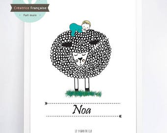 Sheep print - Name-child (sold without frame)