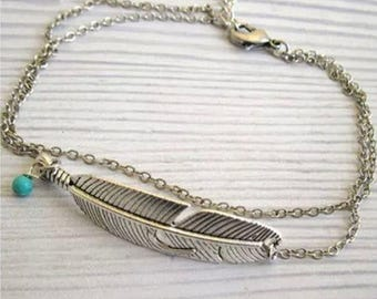 Silver or Gold Tone Feather Anklet