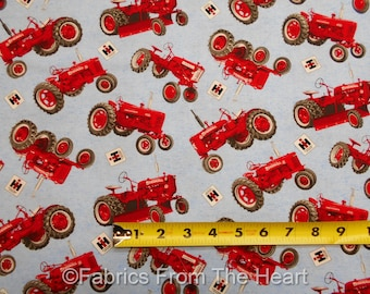 Farmall Tractors International Harvester Toss on Blue BY YARDS PC Cotton Fabric
