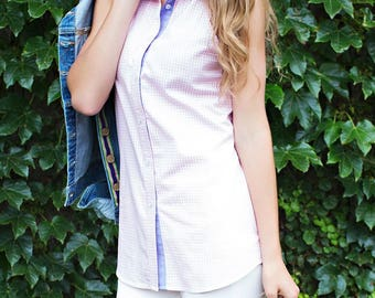 The Preppy Elephant Sleeveless Gingham Cotton Shirt