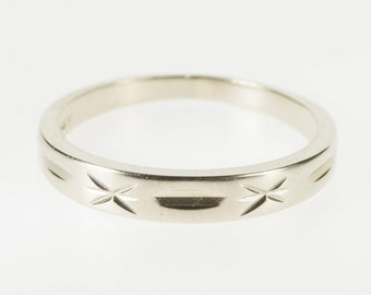 14K Grooved X Patterned Design Wedding Band Ring Size 5.5 White Gold