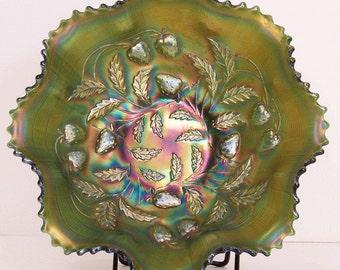 "Northwood Strawberry Green Carnival Glass 9"" Bowl"