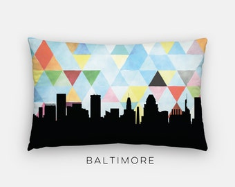 Baltimore art pillow | Baltimore skyline pillow | Baltimore home decor | Baltimore, Maryland home decor | Maryland pillow | Baltimore gift