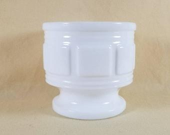 Milk Glass Planter ~ Pedestal ~ Urn ~ Indoor Planter ~ Florists Planter ~ Candy Dish ~ Geometric Pattern ~ Minimalist ~ Penny Lane Treasures