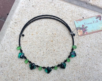 Emerald Green Glass & Jet Black Crystal Choker Necklace Minimalist Teens Tweens Kids Birth Month May Memory Wire Flower Girl Gift for Her