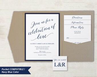 Pocket Wedding Invitation Set, Printable Wedding Invitation Template, DIY Wedding Invite, Instant Download, Navy Blue Modern #SPP008wip