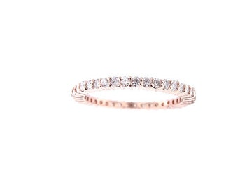 14K Rose Gold Eternity Diamond Band Anniversary Band Wedding Band Stackable Band Promise Ring Prong Set Yellow Gold White Gold Platinum