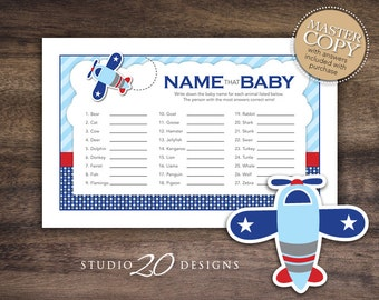 Instant Download Airplane Name That Baby Game, Bomber Baby Shower Games for Boy, Printable Baby Animal Game, Boy Aviation Baby Shower 37A