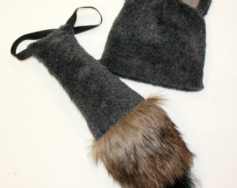 Wolf costume /wolf hat/ wolf tail/ Kids wolf Costume / wolf dress up / wolf handmade costume / Halloween costume