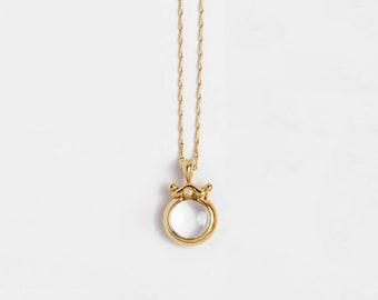 Clear Stone Pendant, Small Bubble Pendant Necklace, Transparent Gemstone Pendant, Rock Crystal Pendant, Smoky Quartz 18k Gold