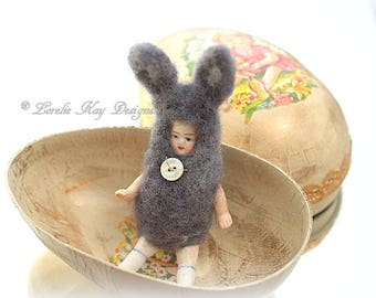 Tiny Easter Bunny Doll Handmade Paper Mache Easter Egg Box Miniature Rabbit Dollhouse Doll  Lorelie Kay Original