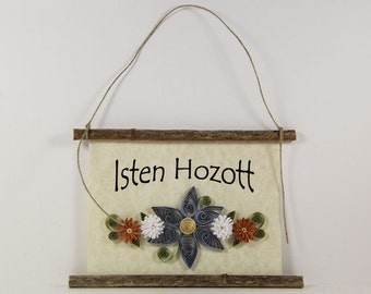 Isten Hozott, Hungarian Welcome, Paper Quilled Welcome Sign, 3D Quilled Banner, Blue Brown White Decor, Hungary Gift, Rustic Wall Decor