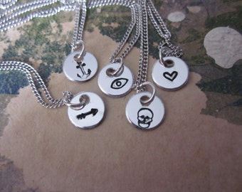 The Janice Necklace - Custom Initial or Symbol Metal Necklace - Extra Extra Small