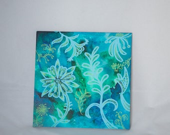 Flower Painting Art - Original Blue Artwork Flowers - Colorful Picture Botanical Decor - Gift for Friend - Mixed Media Art Nature Lover