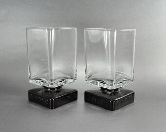 DiSaronno Square Clear Glasses Set of 2 Black Footed Pedestal Base Amaretto Barware Glasses