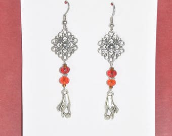 Earrings Silver Filigree Red Crystal Flower Cross Hand #C03b One Of A Kind