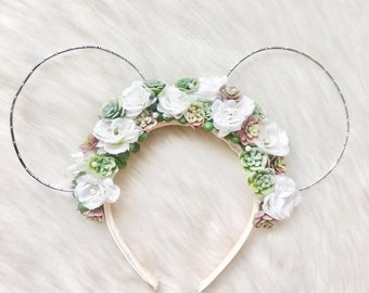 Succulent Floral Pearl Wire Mouse Ears