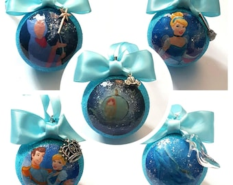 Cinderella Christmas Tree Baubles/Decorations - set of 5 with or without charms