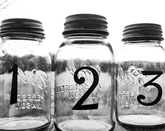 Wedding Table Numbers | Mason Jar Wedding | Country Wedding | Cheap Wedding Table Numbers | Vinyl Table Numbers | Free Shipping