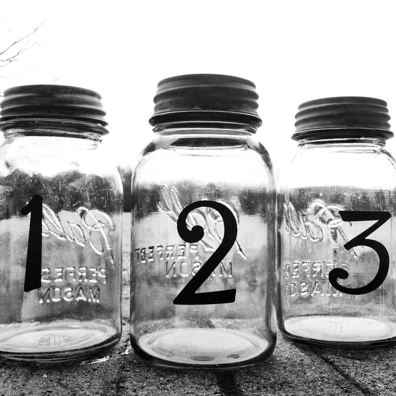 Wedding Table Numbers Mason Jar Wedding Country Wedding